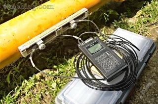 Pengetesan Air limbah dengan portable flow meter